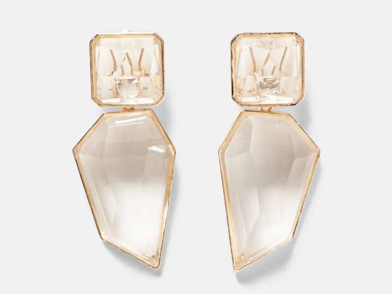 Clear stone earrings, Zara