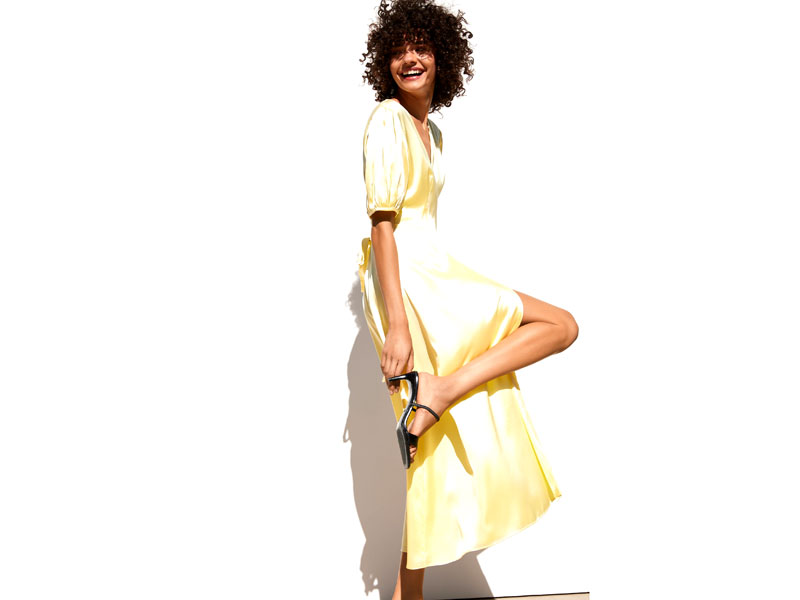 Yellow silk bridesmaid dress with sleeves by Zara, at City Centres